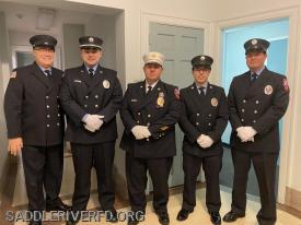 Pictured Left to right: FF Tom Connors, Capt. Greg Pink, Chief Bill Salvatori, 2nd Lt. Sam Antoshak, FF Bill Slayne.
